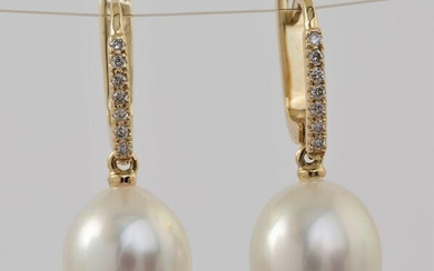 14 kt. Yellow Gold- 10x11mm White South Sea Pearls