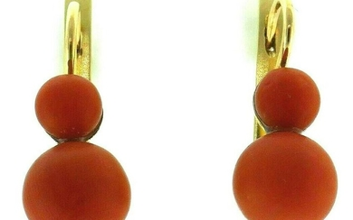 14K Yellow Gold Round Coral Drop Earrings Lever Back