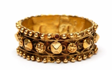 """14krt. Gold ring, so called """"cap ring"""", decorated..."""