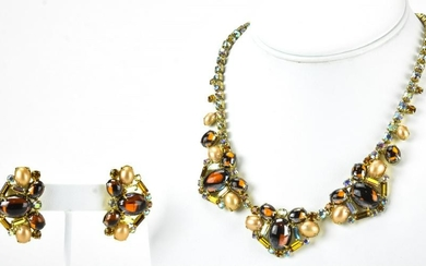 1970s Cabochon & Rhinestone Necklace & Earrings