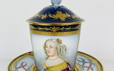 19TH C. SEVRES LIDED CUP AND SAUCER