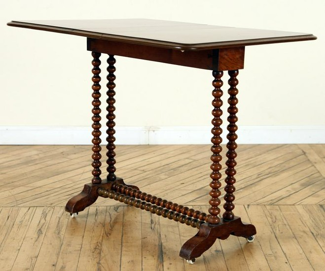19TH CENTURY PETITE WALNUT DROP LEAF TABLE