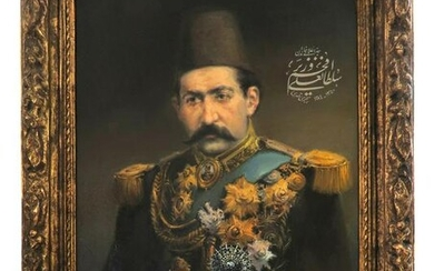"""19th C. """"Minister of the Qajar"""" Oil on Canvas Painting"""