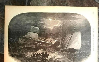 19thc Civil War Engraving, Sinking of Confederate
