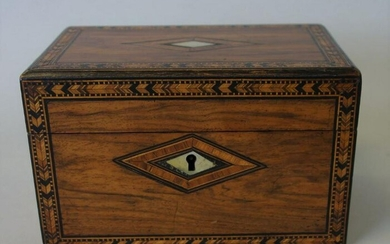 19thc Double Compartment Inlaid Tea Caddy