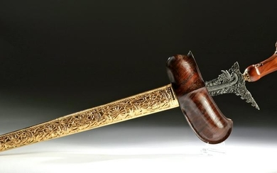20th C. Indonesian Iron Kris w/ Wood, Gilding