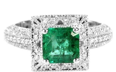 2.11 tcw Emerald Natural Diamond Ring in 18K White Gold