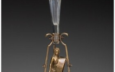 27024: A German Lacquered Brass and Cut-Glass Figural C