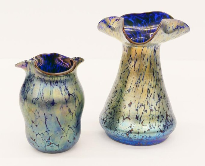 2pc Loetz Blue Oil Spot Glass Vases