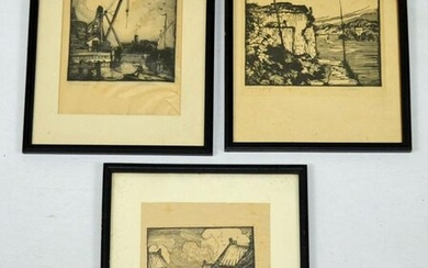 3 Fred Larson Signed Woodcut Etchings
