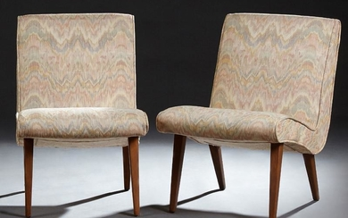 Pair of Mid-Century Modern Upholstered Lounge Chairs,
