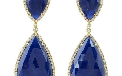 55.76 Carat Sapphire Diamond 18 Karat Gold Earrings