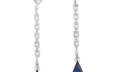 SAPPHIRE AND DIAMOND EARRINGS in 18ct white gold, each