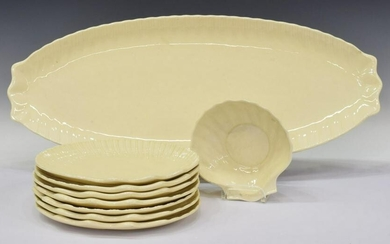 (9) FRENCH GIEN FAIENCE SEAFOOD SERVICE