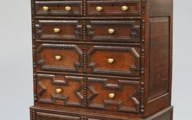 A 17TH CENTURY STYLE OAK CHEST ON STAND, 19TH CENTURY