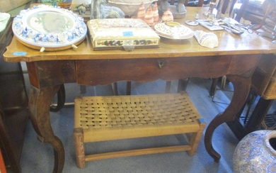 A 19th century walnut table with single frieze drawer on Fre...