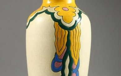 A BELGIUM POTTERY VASE, with incised and painted
