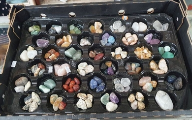 A BOX OF POLISHED MIXED GEOLOGY