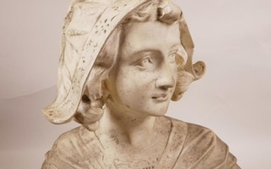 A C19th decorative bust of a Dutch lady in traditional dress...