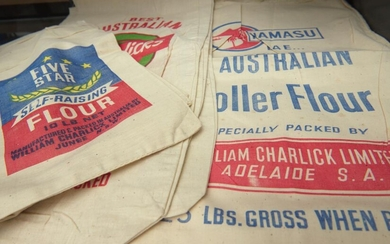 A COLLECTION OF VINTAGE AUSTRALIAN SCREEN PRINTED CLOTH FLOUR SEED SACKS, LEONARD JOEL LOCAL DELIVERY SIZE: SMALL