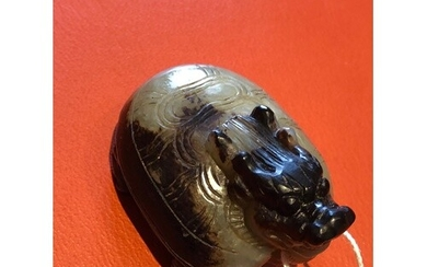 A Chinese Dragon/Tortoise Jade carving Finely carved with bo...