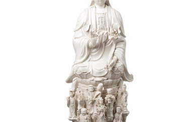 A Chinese White Glazed Porcelain Figure of Guanyin