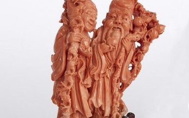 A Chinese coral figural group of Shou Lao