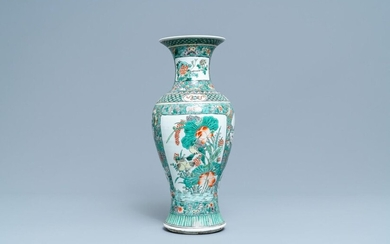 A Chinese famille verte vase, 19th C.