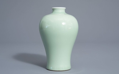 A Chinese monochrome celadon meiping vase, Qianlong mark,...