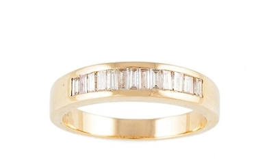 A DIAMOND HALF ETERNITY RING, channel set with baguette cut ...