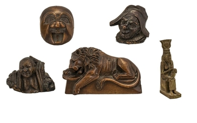 A Fine Collection of Five Small Antique Wood Carvings a fine...