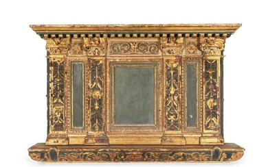 A Florentine carved, green painted and parcel-gilt overmantel, 16th century and later