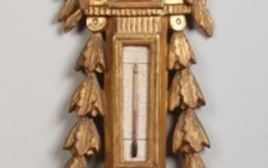 A French Louis XVI giltwood and gesso mercury wall barometer...