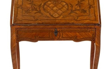 A French Parquetry and Marquetry Slant-Front Desk