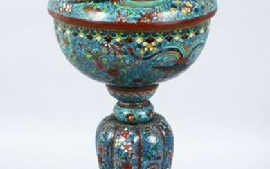 A GOOD 19TH CENTURY CHINESE CLOISONNE LAMP, the body of