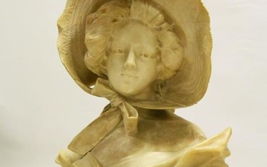 A GOOD LARGE LATE 19TH CENTURY CARVED ALABASTER BUST OF