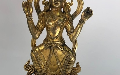 A Gilt Bronze Figure of White Tara, Tibet 17th Century.