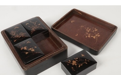 A Japanese Meiji period lacquered box and cover of rectangul...