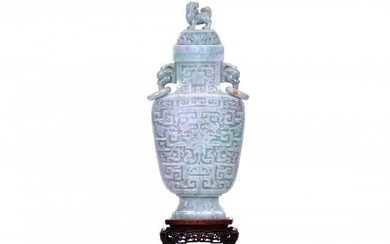 A LARGE JADE ARCHAISTIC VASE AND COVER