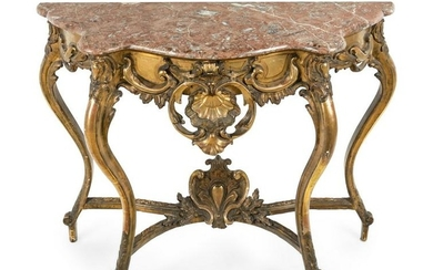 A Louis XV Style Giltwood Marble-Top Console Table