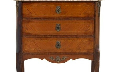 A Louis XV Style Metal Mounted, Tulipwood Veneered