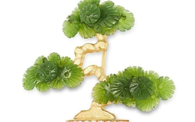 A NEPHRITE JADE, ENAMEL AND DIAMOND BONSAI TREE BROOCH