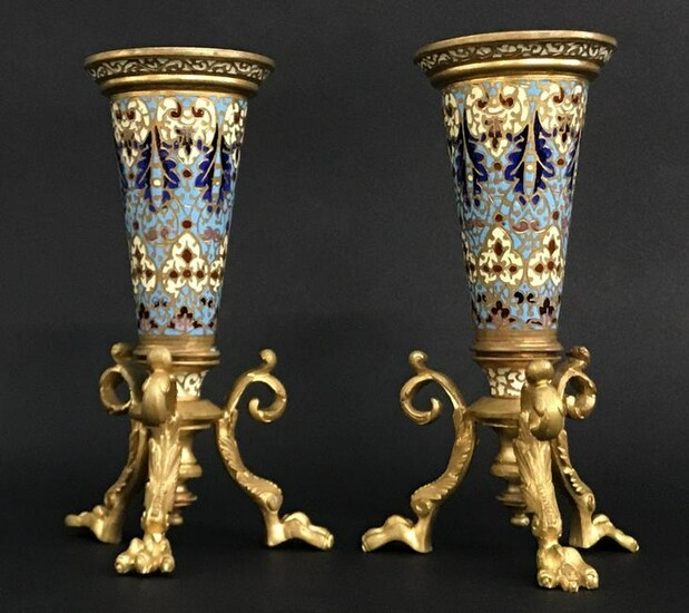 A PAIR OF 19TH C. FRENCH CHAMPLEVE ENAMEL VASES