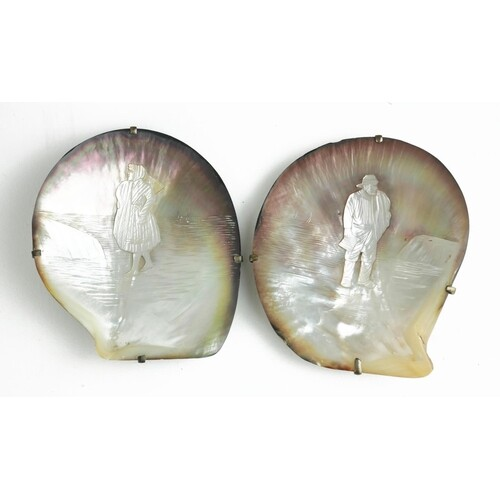 A PAIR OF 19TH CENTURY RUSSIAN MOTHER OF PEARL SHELL CARVING...