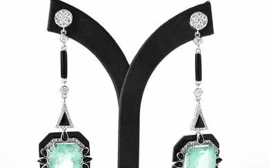 A PAIR OF ART DECO STYLE DROP EARRINGS SET WITH EMERALD, ONYX AND DIAMOND, THE EMERALDS TOTALLING 19.34CTS AND DIAMONDS TOTALLING 1....