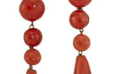 A PAIR OF CORAL DROP EARRINGS, each graduated line of