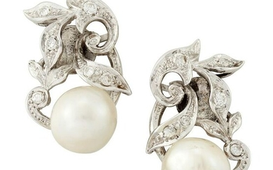 A PAIR OF CULTURED PEARL AND DIAMOND CLIP EARRINGS, the