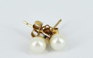 A PAIR OF CULTURED PEARL EAR STUDS