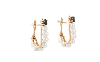 A PAIR OF SAPPHIRE AND PEARL EARRINGS, of elongated hoop des...