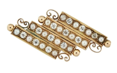 A PEARL AND DIAMOND BROOCH, the four rows set with old